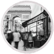 Champs Elysees And Arc Triomphe - Paris Round Beach Towel