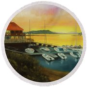 Round Beach Towel featuring the painting Champs Sunset by Chris Fraser