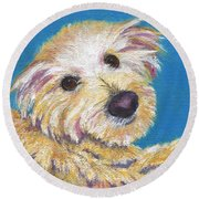 Round Beach Towel featuring the painting Chance by Jamie Frier