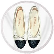 Chanel Ballet Flats Classic Watercolor Fashion Illustration Coco Quotes Vintage Paris Black White Round Beach Towel