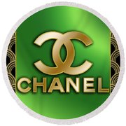 Round Beach Towel featuring the digital art Chanel - Chuck Staley by Chuck Staley