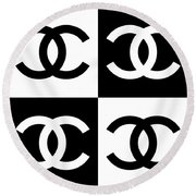 Round Beach Towel featuring the painting Chanel Design-5 by Three Dots