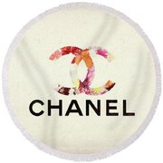 Chanel Floral Texture  Round Beach Towel