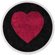 Chanel Heart-1 Round Beach Towel
