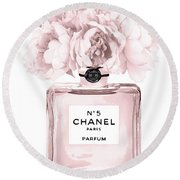 Chanel N.5 Perfume 9 Round Beach Towel