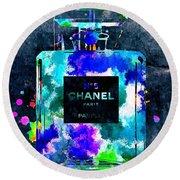 Chanel No 5 Dark Grunge Round Beach Towel by Daniel Janda