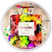 Chanel No 5 Grunge Round Beach Towel by Daniel Janda