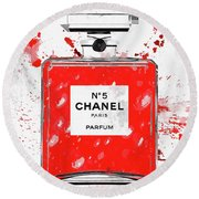 Chanel No 5 Red Round Beach Towel