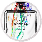 Chanel No. 5 Watercolor Round Beach Towel
