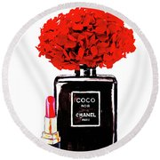 Chanel Noir Perfume With Red  Hydrangea  Round Beach Towel