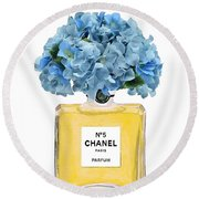Chanel Perfume Nr 5 With Blue Hydragenias  Round Beach Towel