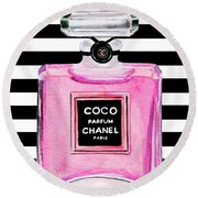 Chanel Pink Perfume 1 Round Beach Towel