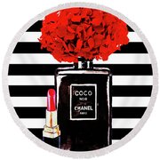 Chanel Poster Chanel Print Chanel Perfume Print Chanel With Red Hydragenia 3 Round Beach Towel