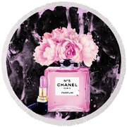 Chanel Print Chanel Poster Chanel Peony Flower Black Watercolor Round Beach Towel