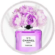 Chanel Print Chanel Poster Chanel Peony Flower Round Beach Towel