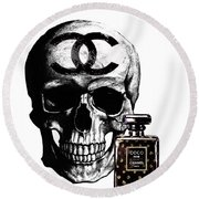 Chanel Skull With Chanel Noir Perfume Round Beach Towel