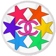 Round Beach Towel featuring the painting Chanel Stars-15 by Nikita
