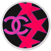 Round Beach Towel featuring the painting Chanel Stars-9 by Nikita