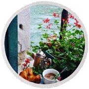 Chanel View Breakfast In Venezia Round Beach Towel by Tamara Sushko