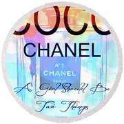 Chanel Watercolor Quote Round Beach Towel