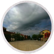 Round Beach Towel featuring the photograph Change In The Weather by Anne Kotan