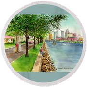 Channel Drive Tampa Florida Round Beach Towel by Frank Hunter