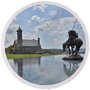 Chapel And Infinity Pool Round Beach Towel