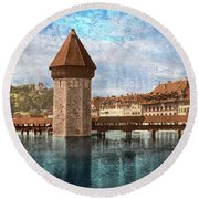 Chapel Bridge In Lucerne Round Beach Towel