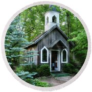 Chapel In The Woods Round Beach Towel