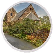 Round Beach Towel featuring the photograph Chapel In The Woods by Rod Best