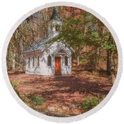 Chapel In Woods At Red Mill 3 Round Beach Towel