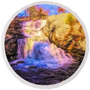 Chapman Falls Connecticut Round Beach Towel