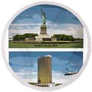 Chapter 11 Lady Liberty Round Beach Towel by Joe  Palermo