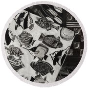 Charcoal Chaos Round Beach Towel