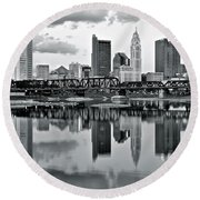 Charcoal Columbus Mirror Image Round Beach Towel by Frozen in Time Fine Art Photography
