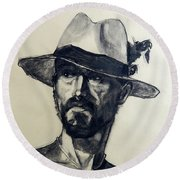 Charcoal Portrait Of A Man Wearing A Summer Hat Round Beach Towel