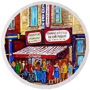 Charcuterie Hebraique Schwartz Line Up Waiting For Smoked Meat Montreal Paintings Carole Spandau     Round Beach Towel