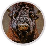 Charging Bison Round Beach Towel