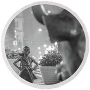 Charging Bull And Fearless Girl Nyc  Round Beach Towel