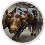 Charging Bull Round Beach Towel