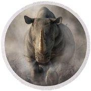 Charging Rhino Round Beach Towel