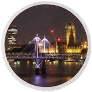 Charing Cross Bridge Round Beach Towel