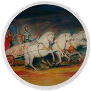 Chariot Round Beach Towel by Khalid Saeed