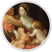 Round Beach Towel featuring the painting Charity by Guido Reni