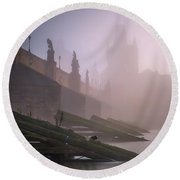 Charles Bridge At Autumn Foggy Day, Prague, Czech Republic Round Beach Towel
