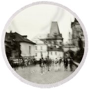 Round Beach Towel featuring the photograph Charles Bridge. Black And White. Impressionism by Jenny Rainbow