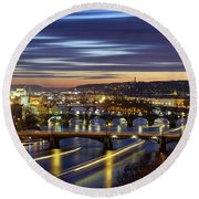 Charles Bridge During Sunset With Several Boats, Prague, Czech Republic Round Beach Towel