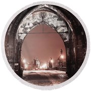 Round Beach Towel featuring the photograph Charles Bridge In Winter. Prague by Jenny Rainbow