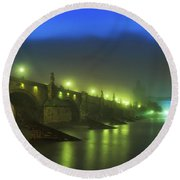 Charles Bridge Night In Prague, Czech Republic Round Beach Towel