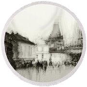 Round Beach Towel featuring the photograph Charles Bridge Promenade. Black And White. Impressionism by Jenny Rainbow
